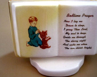 Vintage Ceramic Bedtime Prayer- Boy with his dog 1950s
