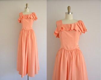50s pink peach scallop dress / 1950s dress / vintage 1950s dress