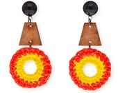 Colorful satement earrings, Hippie Earrings, clip on boho earrings, Bold Trendy wood and fiber fashion earrings SUMMER
