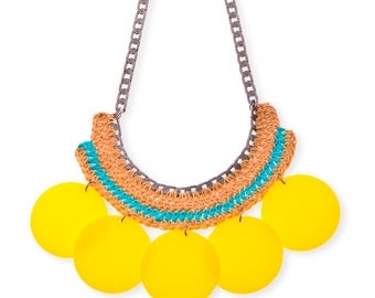 Graphic Large Yellow Circle Statement  Necklace, bold chunky Plexiglass Plastic necklace