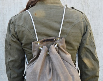 Waxed Canvas Croaker Sack, Waxed Canvas Backpack, Waxed Canvas Bag, Waxed Canvas Tote, Waxed Canvas Gym Bag, Ditty Bag, Travel Bag, For Him
