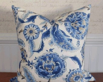 SALE ~ Decorative Pillow Cover: Suzani Designer Fabric 18 X 18 Accent Throw Pillow Cover in Shades of Indigo