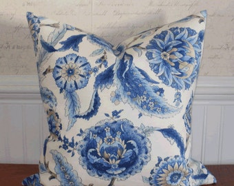Decorative Pillow Cover: Suzani Designer Fabric 18 X 18 Accent Throw Pillow Cover in Shades of Indigo