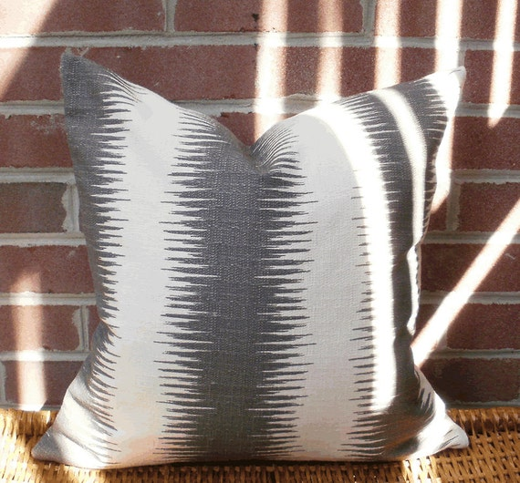 For Karin: 2 Gray Ikat Replacement 18 X 18 inch Accent Throw Pillow Covers