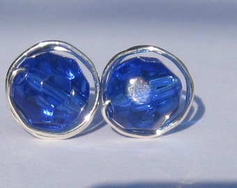 Large Faceted Cobalt Blue Stud Earrings (10mm), Glass Stud Earrings, Wire Wrapped Sterling Silver Stud Earrings, Big Dark Blue Stud Earrings