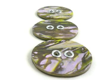 Lavender and green handmade large grommeted buttons