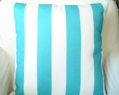 OUTDOOR Aqua Stripe Nautical Pillow Cover, Decorative Throw Pillows, Cushions, Aqua White Stripe Ocean, Beach Cottage, One or More ALL SIZES