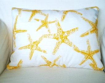 Yellow Starfish Pillow Cover, Nautical Lumbar Pillow, Decorative Throw Cushions Yellow White Starfish Sea Friends, One 12 x 16 or 12 x 18