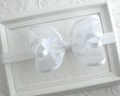 White Baby Bow Headband, Baptism Headband, White Satin and Organza Baby Bow Headband, First Communion, Flower Girl Hair Accessories
