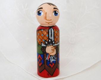 St Sebastian Catholic Saint Doll - Wooden Toy - Made to Order