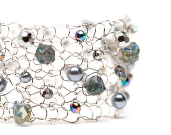pyrite gray gift bracelet delicate bracelets rainbow pyrite chalcopyrite wide beaded bracelet arm cuff pearl cuff bracelet