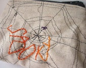 Spooky - Zipper Pouch - Hand Embroidered and Machine Stitched Spider Web - Limited Edition - Halloween Bag - One of a Kind Spider Web Purse