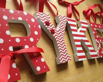 Baby Nursery Wall Letters, Seeing Red Theme, Red and White Nursery, Dots, Chevron, Stripes and Plaid, Gender Neutral Nursery Deco Kids Rooms