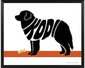 Personalized Leonberger Silhouette Print, Framed Custom Dog Name Art