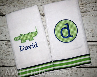 Monogrammed Burp Cloth Gift Set for Baby Boys - Alligator - Embroidered Personalized