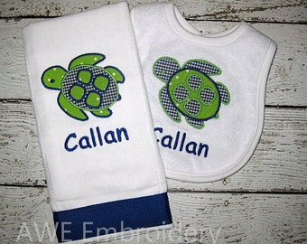 Monogrammed Turtle Burp Cloth and Bib Gift Set for Baby Boy - Embroidered Personalized
