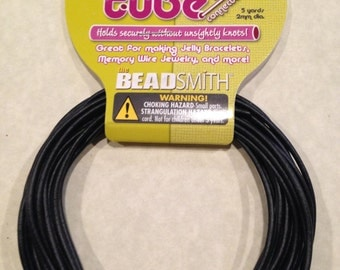 2mm Jewelry Tube (hollow), 5 yards, black. Spacer tubing.
