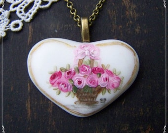 Hand Painted Porcelain Pink Roses  Heart charm ornament  pendant necklace