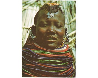 3 Vintage Costume Postcards - East Africa - Turkana People - Traditional Costumes - Folk Jewelry