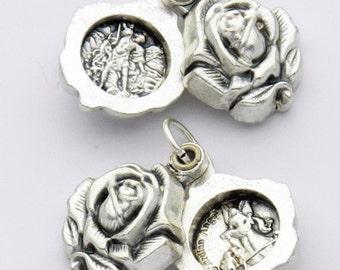 Silver Medal locket of ST MICHAEL ARCHANGEL Religious sliding rose locket pendant for necklace rosary charm bracelet chaplet