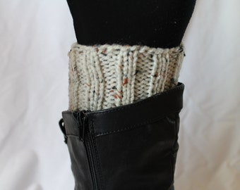 Hand Knit Boot Cuffs, Boot Toppers. Leg Warmers- Oatmeal Variegated (Fleck)