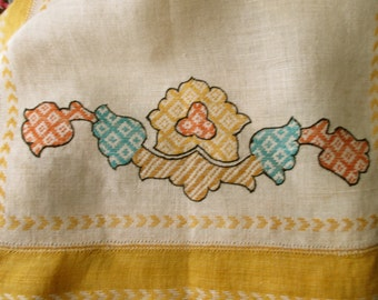 Vintage linen  DISH TOWEL - embroidered, cream, yellow