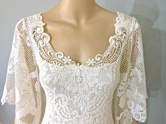 Off White Lace And Tulle Bridal Gown Simple Boho Wedding: RESERVED Teale Alterations Boho WEDDING Dress Off White LACE