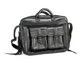 """ROCKER LAPTOP BAG - Black Leather Studded Computer Bag for up to 17"""" Laptop - Custom Brass Hardware - Adjustable Strap - Designer Jan Hilmer"""