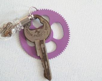Industrial Steampunk Lavender Gear Glass vial  vintage key  watch part pendant