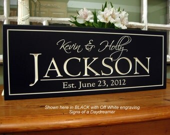 Family Name Sign CARVED - Personalized Sign - Family Last Name Sign-  Established Carved Engraved, unique wedding gift 8 x 20