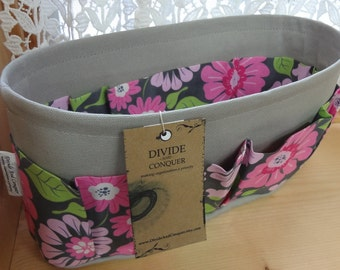 Purse ORGANIZER Insert SHAPER / Bag Organizer / Floral #8 on Gray / STURDY / 5 Sizes Available / Check out my shop for more colors & styles