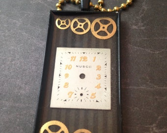 Steampunk Gears and Watch Face Black Necklace