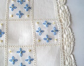 Small Vintage Cloth - Blue and White Embroidered Table Linen or Square Dresser Scarf - Antique Fine Cotton Cloth