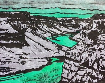 Night Canyon - Original Linocut Print