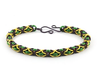 3 Color Byzantine Chainmaille Bracelet Kit - Mardi Gras