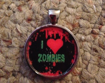 I Love Zombies Image Pendant Necklace-FREE SHIPPING-