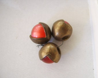 Antique Brass Cherry Red Orb Buttons-Three (3)