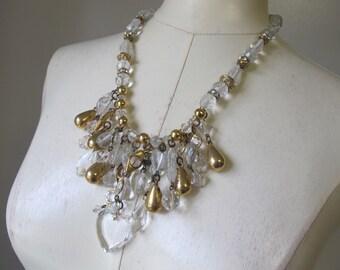 Vintage Roxsann RUNWAY Bib Necklace Clear Gold Metallic