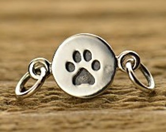 Sterling Silver Paw Print Link - Connectors, Sideways Charms, Dog, Animal Charms, Puppy, Cat