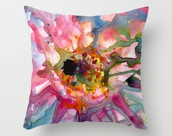 Colorful Pink and Teal Cactus Flower Watercolor Throw Pillow Cover
