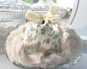 BODY POWDER PUFF - light sandstone and pink brocade pouf - gift boxed