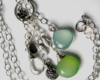 Peruvian Blue Chalcedony, Apple Green Chalcedony and Mystic Silver Quartz Necklace with Sterling Flower Charms