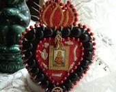 REDUCED Retablo, Santo Milagro, Votive, Religious Spiritual Catholic Heart of Christ 9 x 6-1/2 Inches