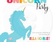 Rainbow Unicorn Party Collection - Invitation