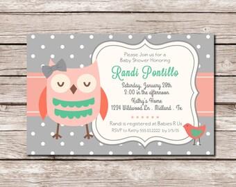 Grey Pink Coral Owl Shower Invite - DIGITAL FILE