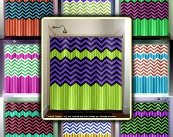 Lime green stripe purple zig zag chevron shower curtain for Zig zag bathroom decor