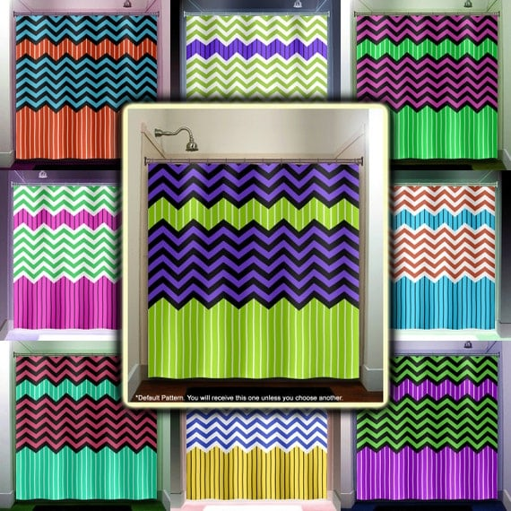 Lime Green Stripe Purple Zig Zag Chevron Shower Curtain