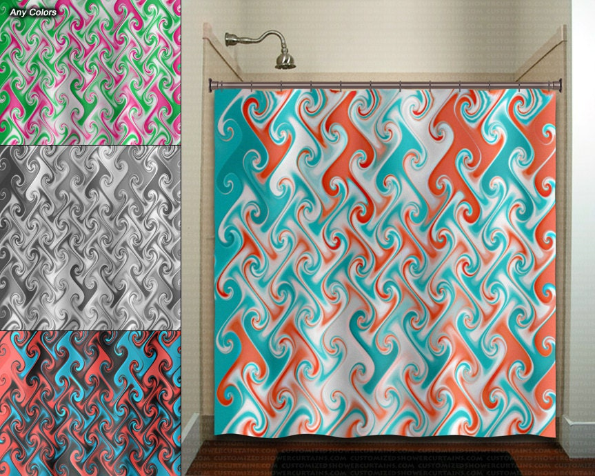 Aqua Coral Metallic Style Ebru Shower Curtain Bathroom Decor