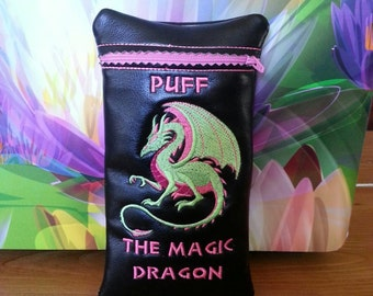 Puff the Magic Dragon custom pipe pouch in Neon pink and neon green.