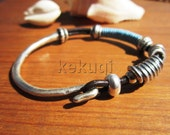 women brown leather and blue wrap bracelet and silver plated half cuff hook clasp and beads decoration